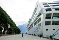 Cruise Ship and Mountains Stock Photo