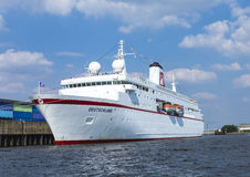 Cruise ship MS DEUTSCHLAND at river Elbe Royalty Free Stock Photography