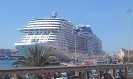 Cruise Ship MSC 2k17. Very comfortable cruise ship MSC Meraviglia stays next to the city Royalty Free Stock Photos