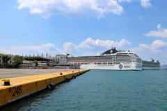 Cruise ship MSC Musica in Piraeus. Cruise ship MSC Musica anchored in the Piraeus, Greece.  MSC Musica is the first Musica-class cruise ship built in 2006 and Stock Image