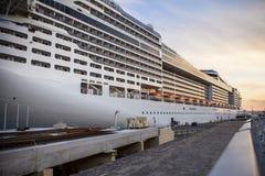 Cruise ship MSC Presioza in the harbor of Valetta stock photography