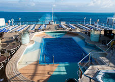 Cruise ship MV Arcadia. View of the aft swimming pool on MV Arcadia Royalty Free Stock Images