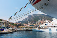 Cruise ship MV Azura in the port of Monaco. Monaco, Monaco - July 30, 2016: cruise ship MV Azura in the port of Monaco. MV Azura is the second largest of eight Stock Images
