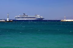 Cruise ship - Myconos Royalty Free Stock Photography