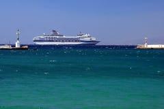 Cruise ship - Myconos royalty free stock photography