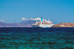 Cruise ship at Mykonos port Royalty Free Stock Image