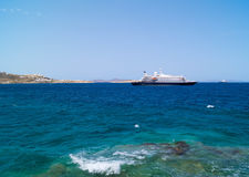 Cruise ship at Mykonos port, Greece Stock Photography