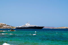 Cruise ship at Mykonos port, Greece Royalty Free Stock Photos