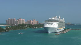 Cruise ship in Nassau stock video footage
