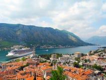 Cruise ship near the coast of the city of Kotor. Stock Image
