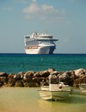 Cruise ship near island Stock Photography