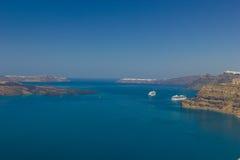 Cruise ship near island of Santorini Royalty Free Stock Photos