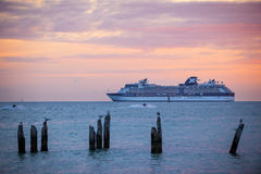 Cruise ship near Key West, Florida. KEY WEST, FLORIDA - DECEMBER26: Cruise ship Celebrity Constellation at sunset on December 26, 2014 off coast of Key West Stock Photography