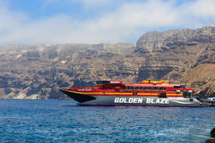 Cruise ship near Santorini Stock Image