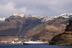 Cruise Ship Near Santorini Island Stock Image