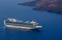 Cruise ship near Santorini island, Greece Royalty Free Stock Photos