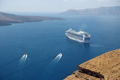 Cruise ship near Santorini Royalty Free Stock Images