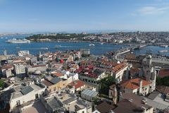 Cruise Ship Near Topkapi Palace at the Golden Horn - Bosporus - in Istanbul, Turkey Stock Photos
