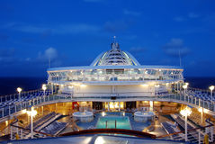 Cruise ship at night. Top deck view of modern ocean liner at night Stock Photos