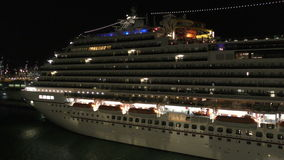 Cruise ship at night stock footage