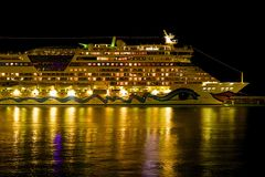 Cruise ship at night Stock Images