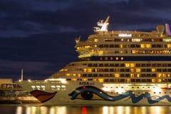 Cruise ship at night Stock Photography