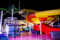 Cruise ship at night. Deck on board a luxury cruise ship liner at night royalty free stock image