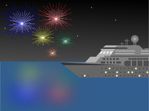 Cruise Ship at Night with Fireworks Vector Illustration