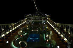 Cruise ship at night with lighting Stock Photos
