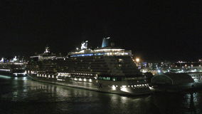 Cruise ship at night stock video footage
