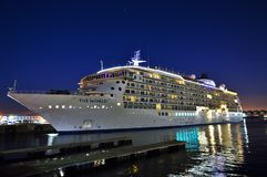 Cruise ship at night time stock photography