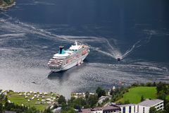 Cruise ship in Norway Stock Photography