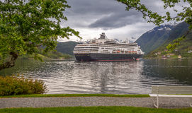 Cruise Ship in the Norwegian Fjord Stock Images
