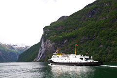 Cruise ship in Norwegian fjords Stock Photo