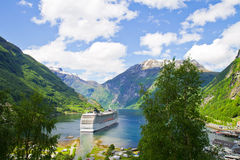 Cruise ship in Norwegian fjords Royalty Free Stock Images