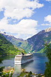 Cruise ship in Norwegian fjords Stock Image