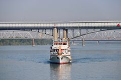 Cruise on a ship on the Ob River. Stock Image