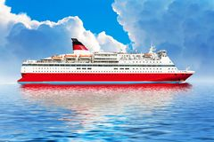 Cruise ship in ocean Stock Images