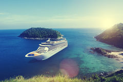 Cruise Ship in the Ocean with Blue Sky Concept Stock Photo