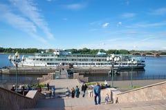 Cruise ship October revolution has docked at city pier . Cruise along the Volga river Royalty Free Stock Image