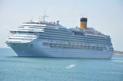 Cruise ship off Bahia, Brazil royalty free stock photography