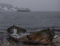 A Cruise Ship off the coast of Antarctica royalty free stock photos