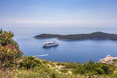 Cruise ship off coast Dubrovnik Croatia Royalty Free Stock Photography