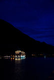 Cruise ship off Juneau, Alaska at night Stock Photography