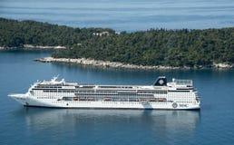 Cruise ship off Lokrum Island Croatia Stock Image