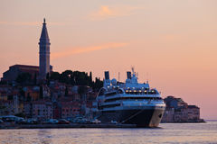 Cruise ship at the old city of Rovinj, Croatia Stock Photography
