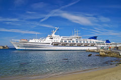 Cruise ship at the old town in rhodes Stock Image