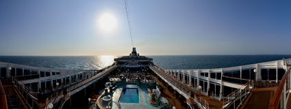 Cruise ship with open deck panorama Stock Images