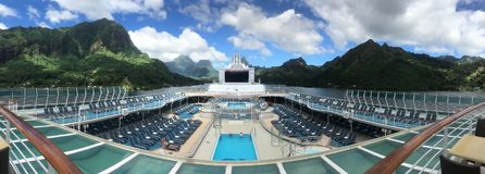 View from cruise ship deck. Cruise ship open deck royalty free stock images