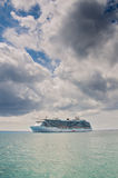 Cruise ship in the open ocean Royalty Free Stock Images